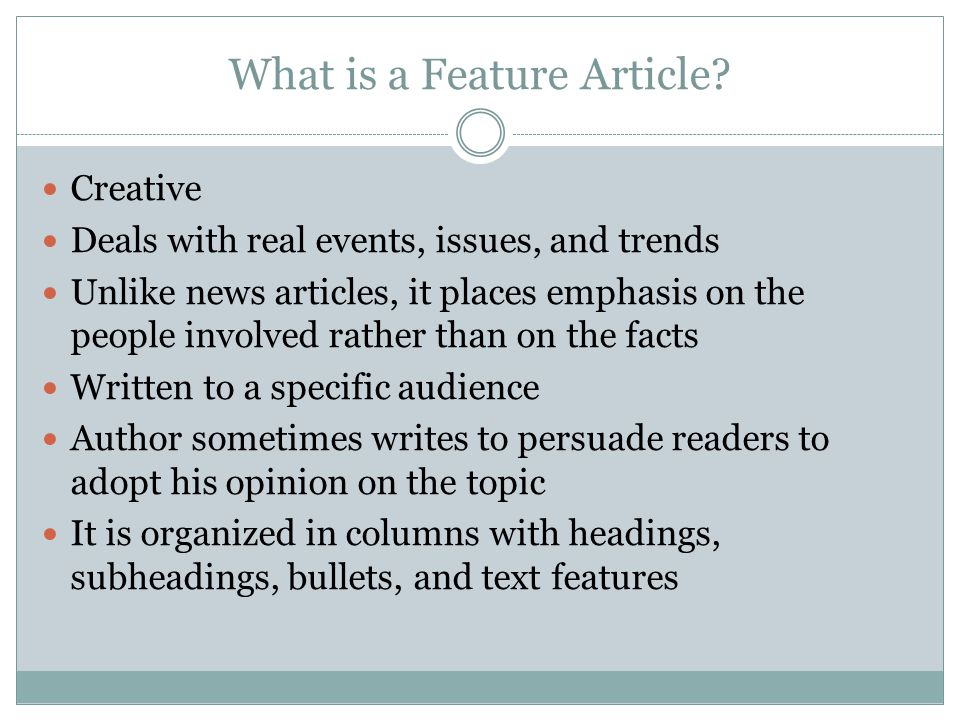 What is a Feature Article