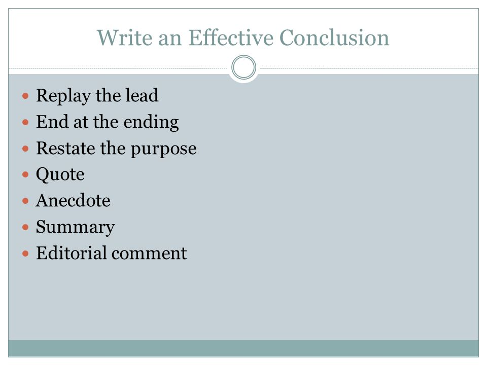 Write an Effective Conclusion
