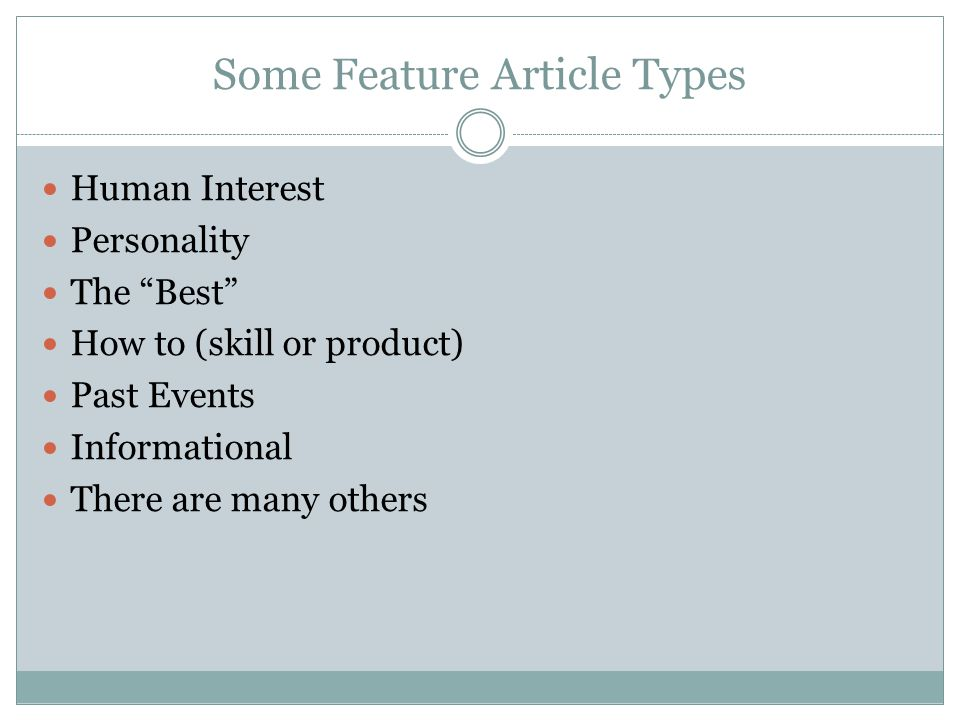 Some Feature Article Types