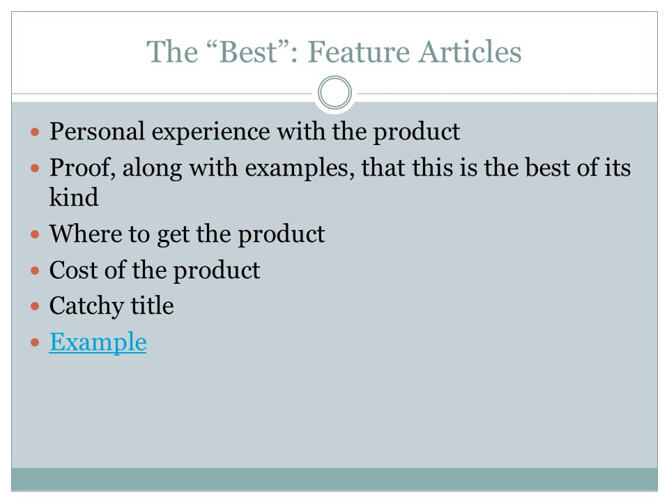 The Best : Feature Articles