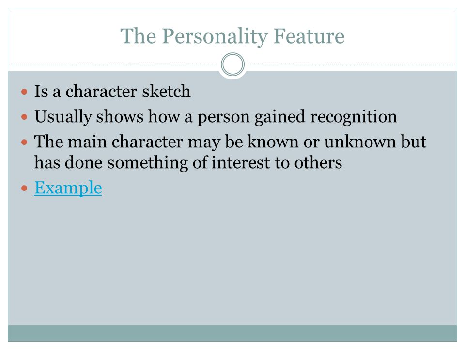 The Personality Feature