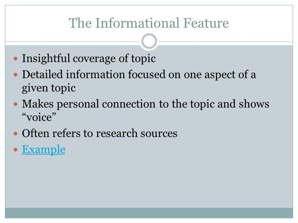 The Informational Feature