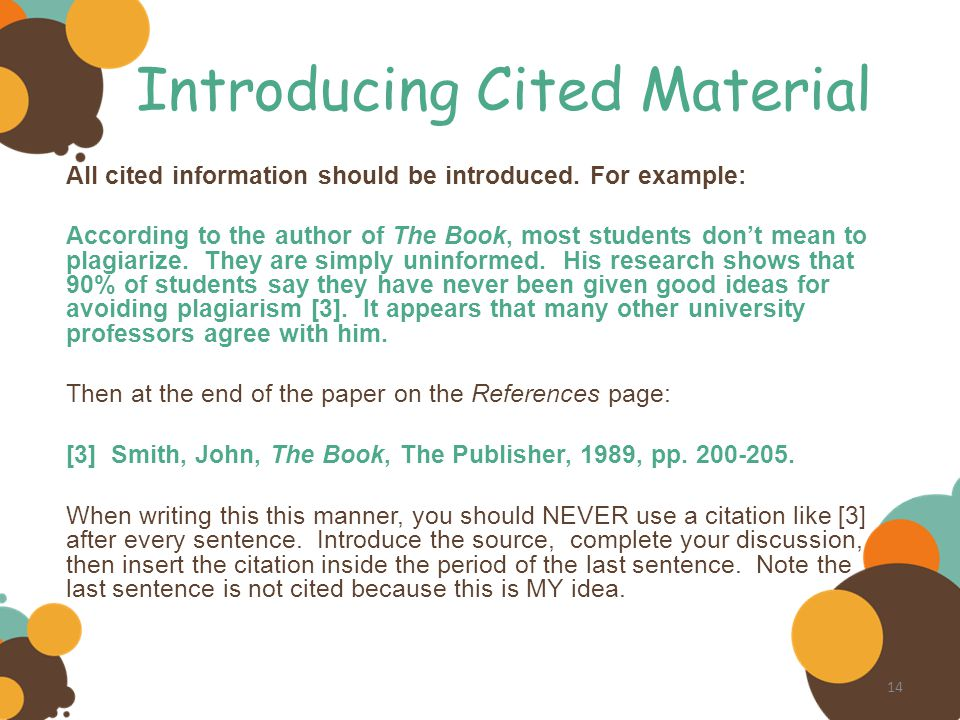 Introducing Cited Material