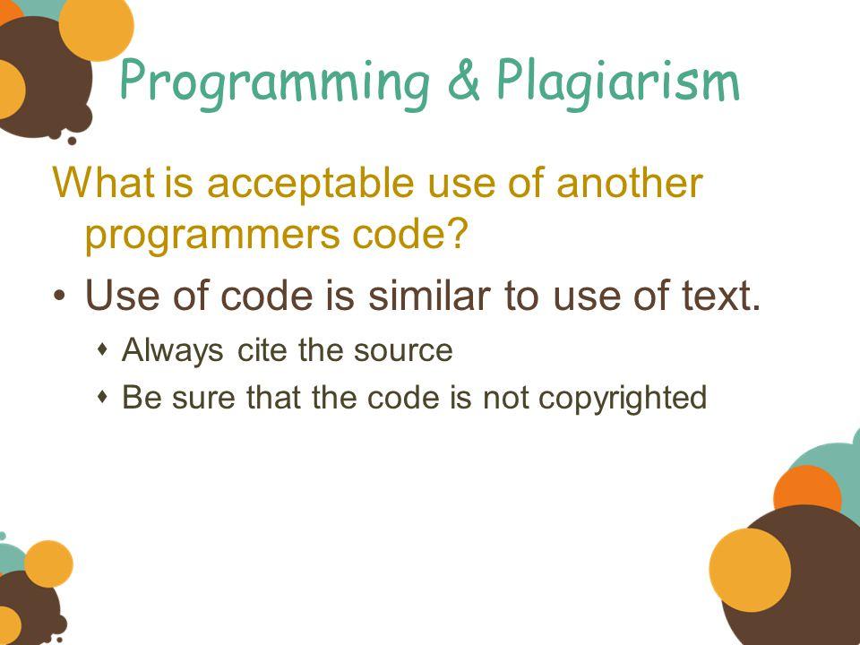 Programming & Plagiarism