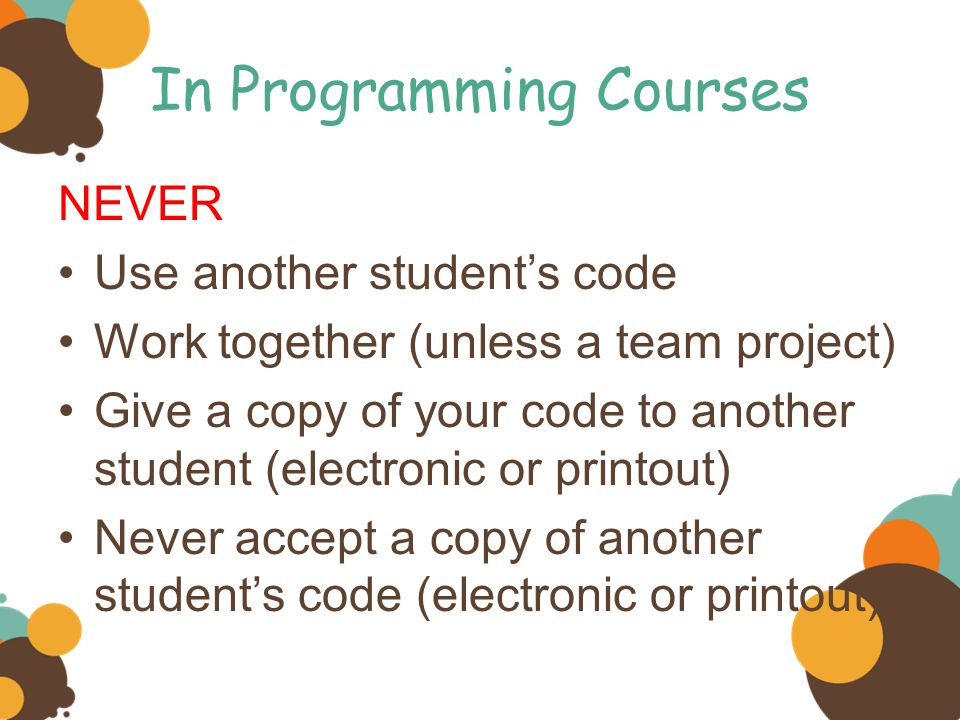 In Programming Courses