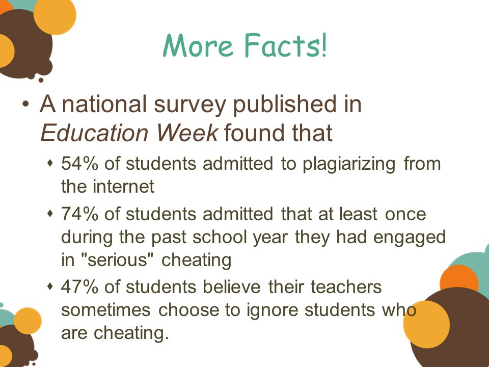More Facts! A national survey published in Education Week found that