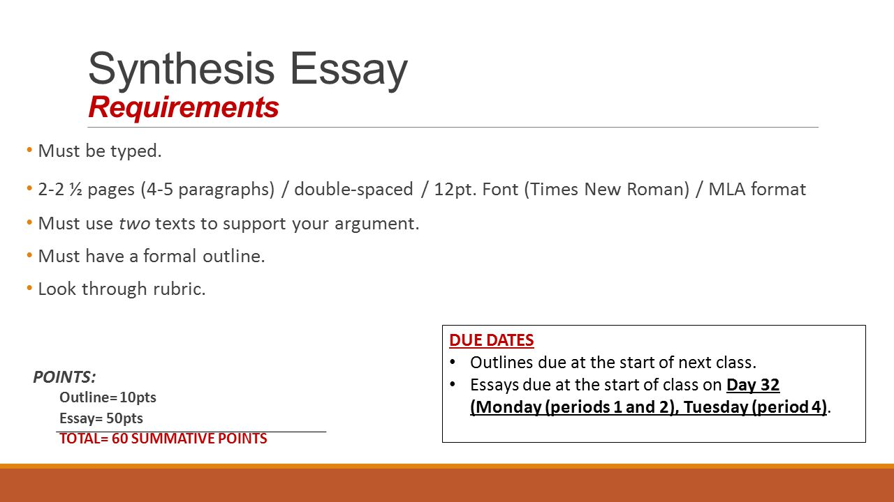 Requirements for essays