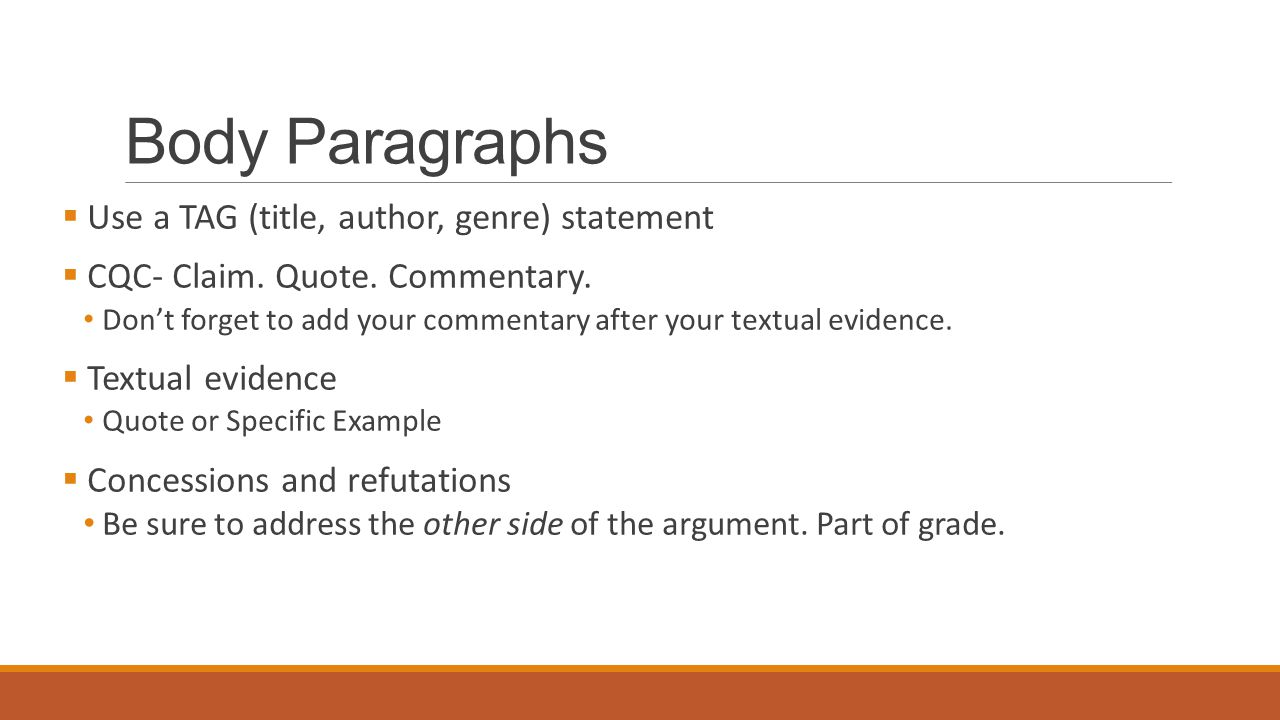 Body Paragraphs Use a TAG (title, author, genre) statement
