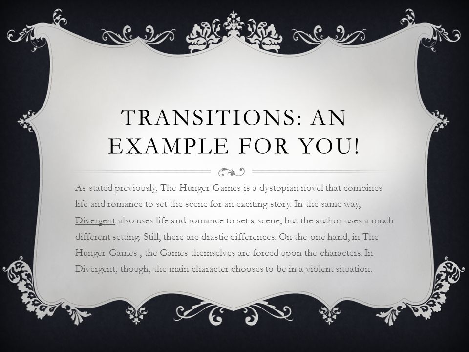 Transitions: an example for you!