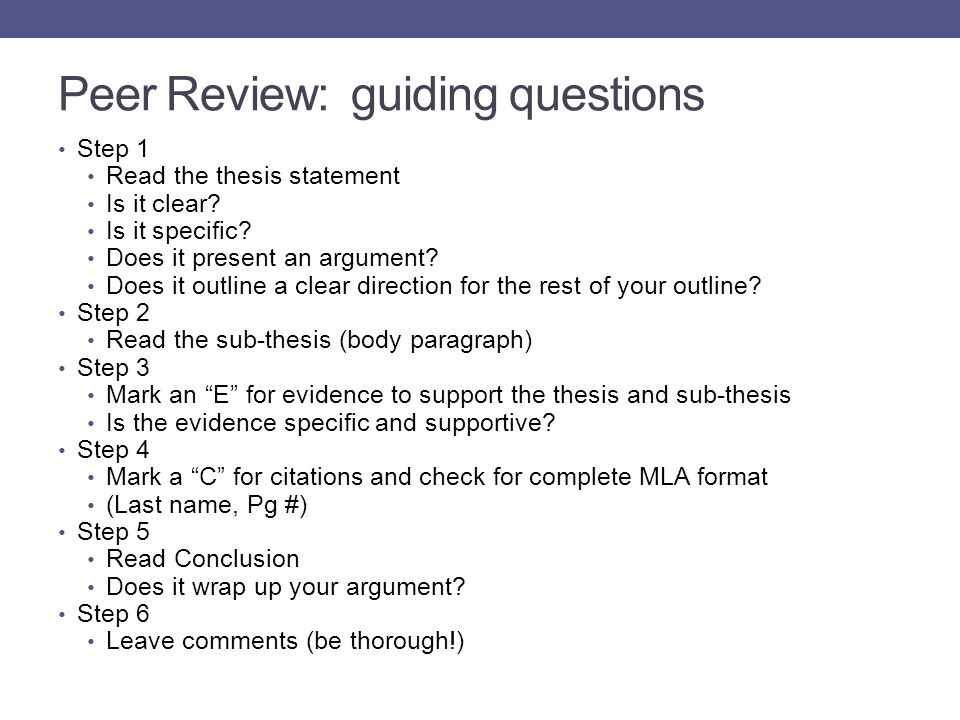 Peer Review: guiding questions