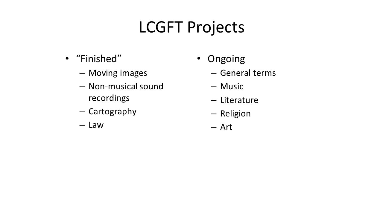 LCGFT Projects Finished Ongoing Moving images