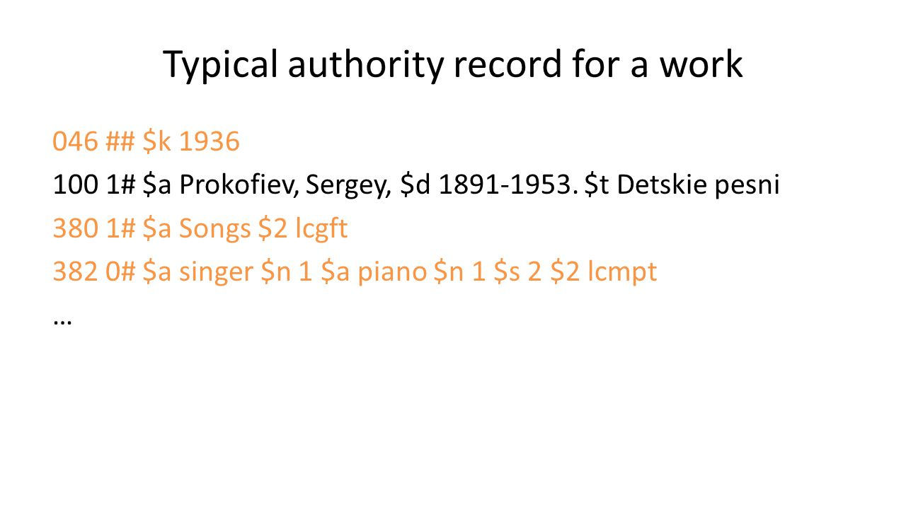 Typical authority record for a work