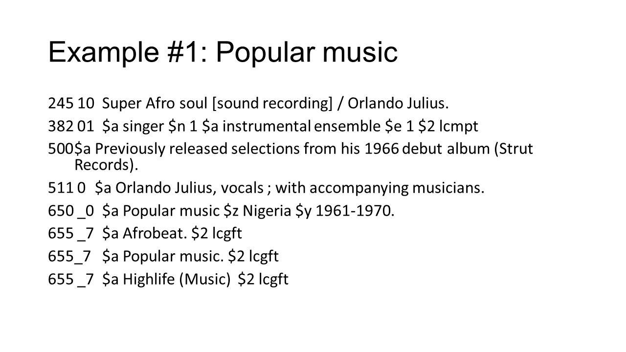 Example #1: Popular music