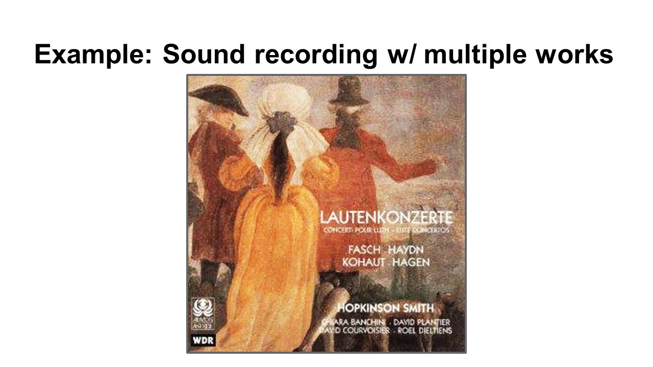 Example: Sound recording w/ multiple works
