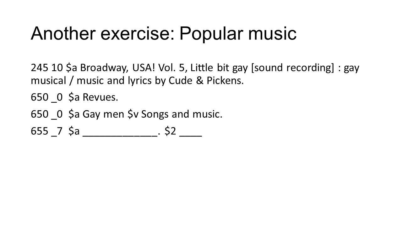 Another exercise: Popular music