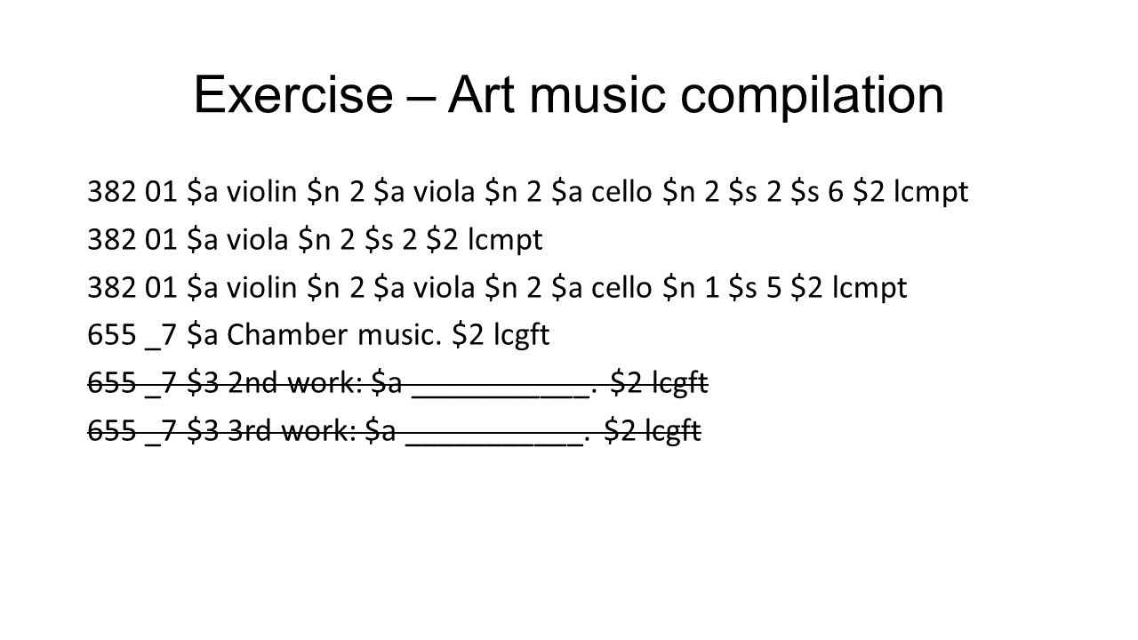 Exercise – Art music compilation
