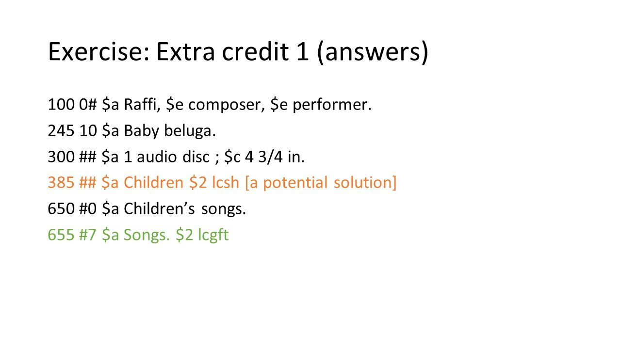 Exercise: Extra credit 1 (answers)