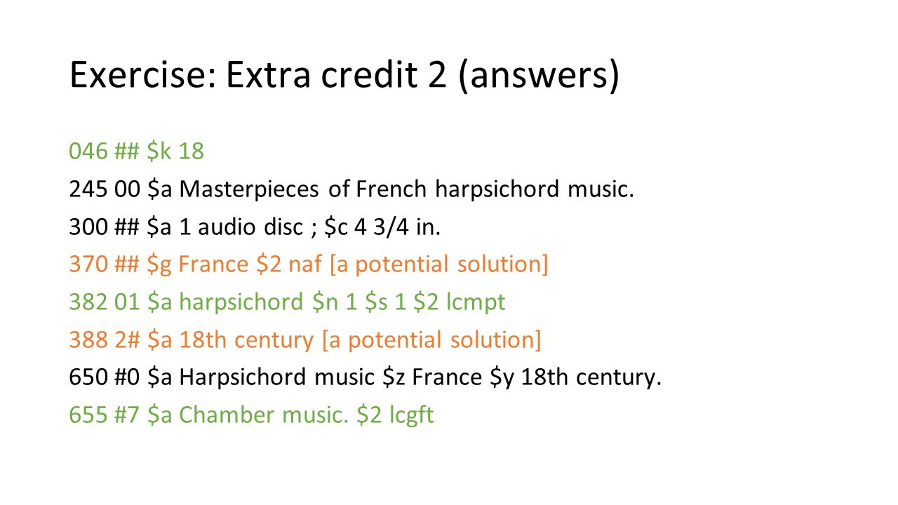 Exercise: Extra credit 2 (answers)