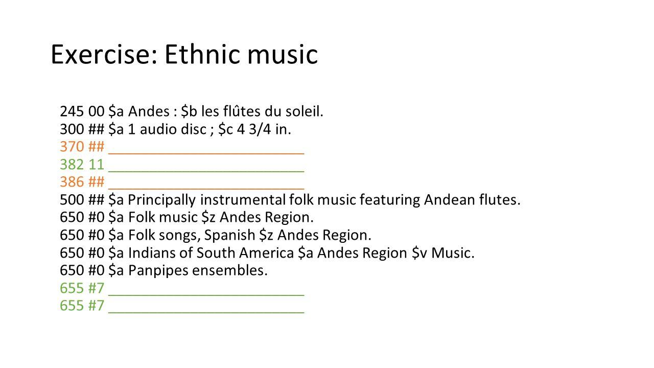 Exercise: Ethnic music