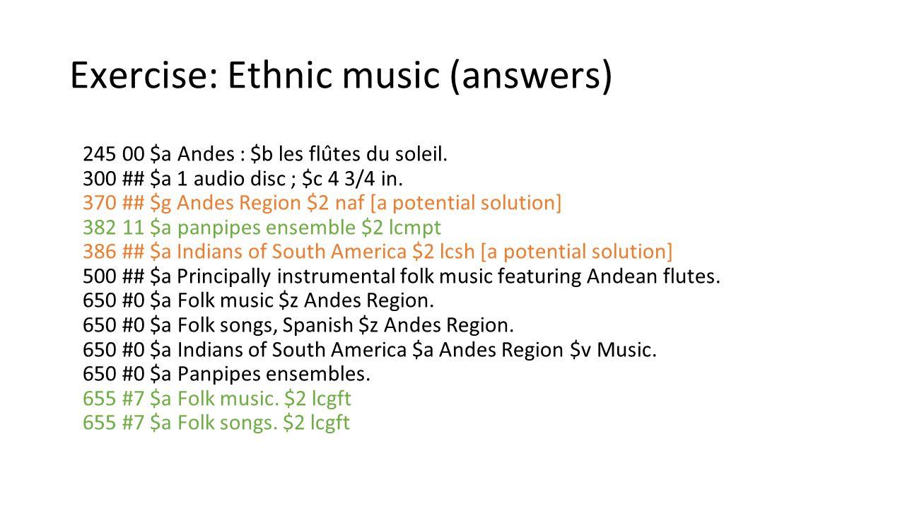Exercise: Ethnic music (answers)