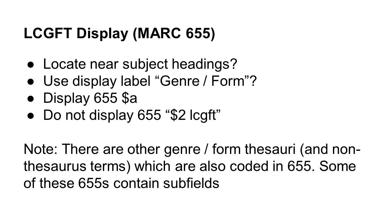 LCGFT Display (MARC 655) Locate near subject headings