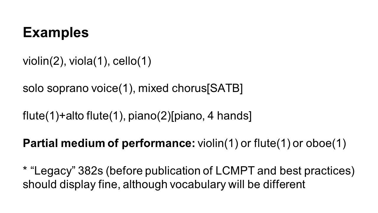 Examples violin(2), viola(1), cello(1)