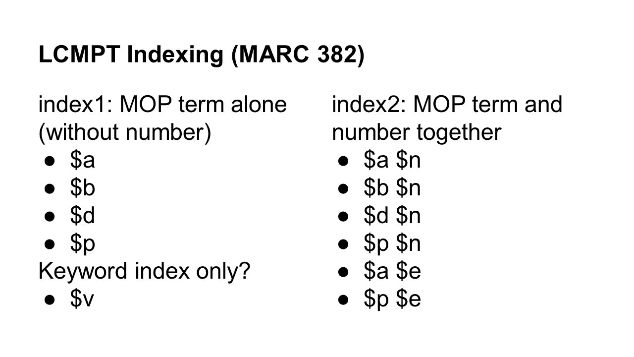 LCMPT Indexing (MARC 382) index1: MOP term alone (without number) $a