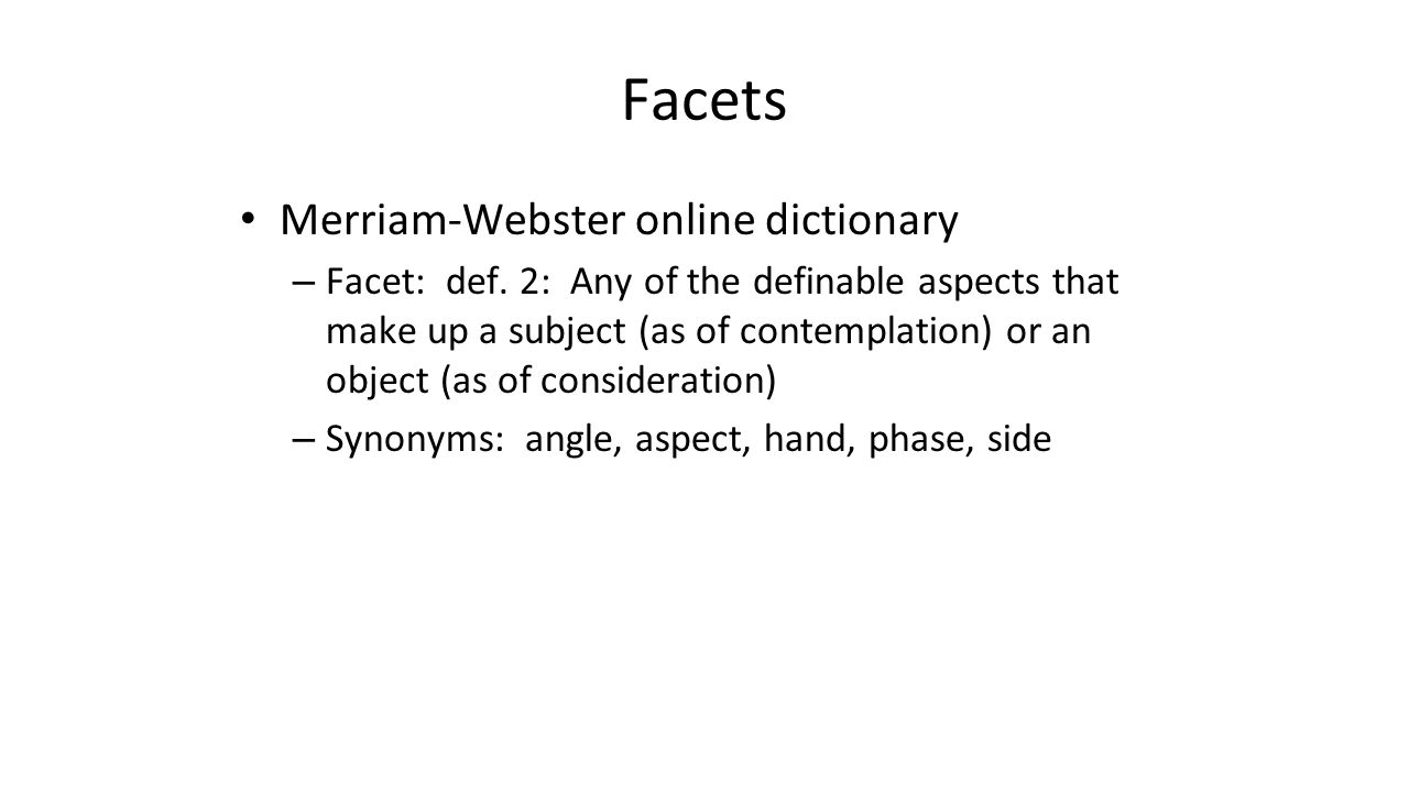 Facets Merriam-Webster online dictionary