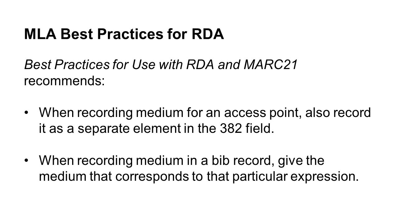MLA Best Practices for RDA