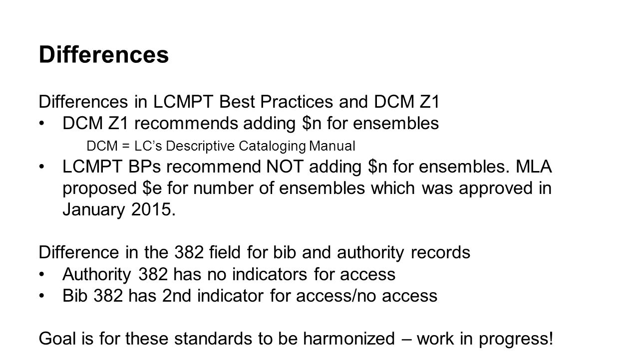 Differences Differences in LCMPT Best Practices and DCM Z1