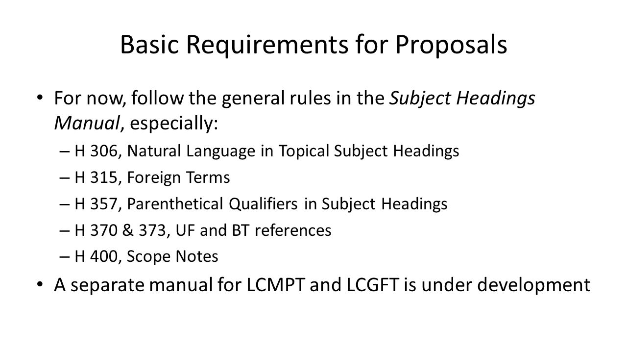Basic Requirements for Proposals