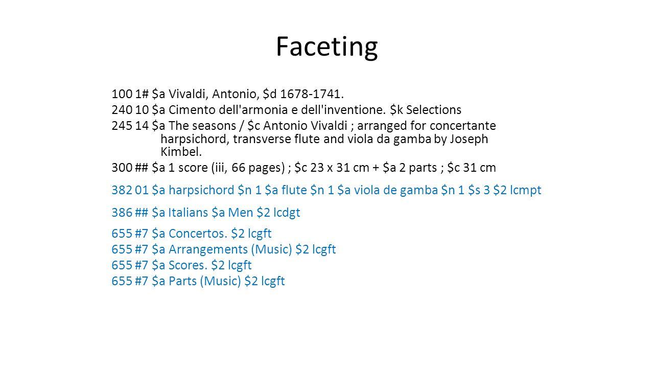 Faceting 100 1# $a Vivaldi, Antonio, $d 1678-1741.