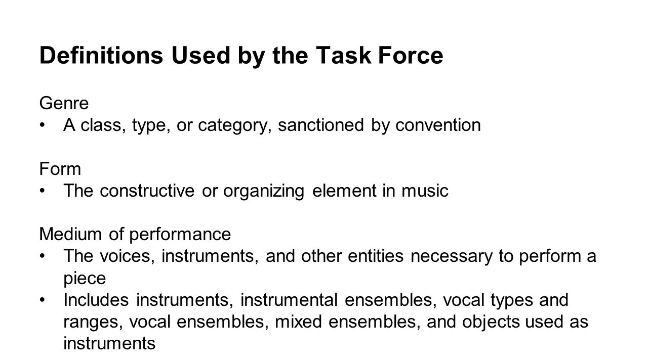 Definitions Used by the Task Force