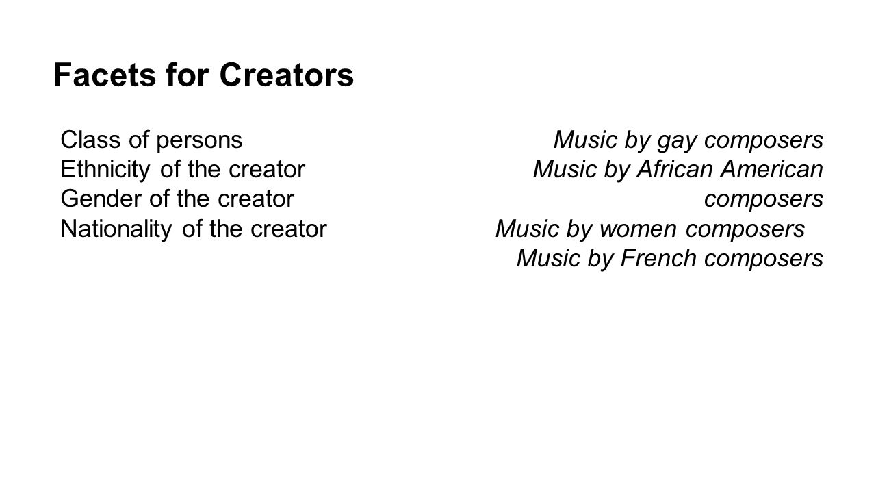 Facets for Creators Class of persons Music by gay composers