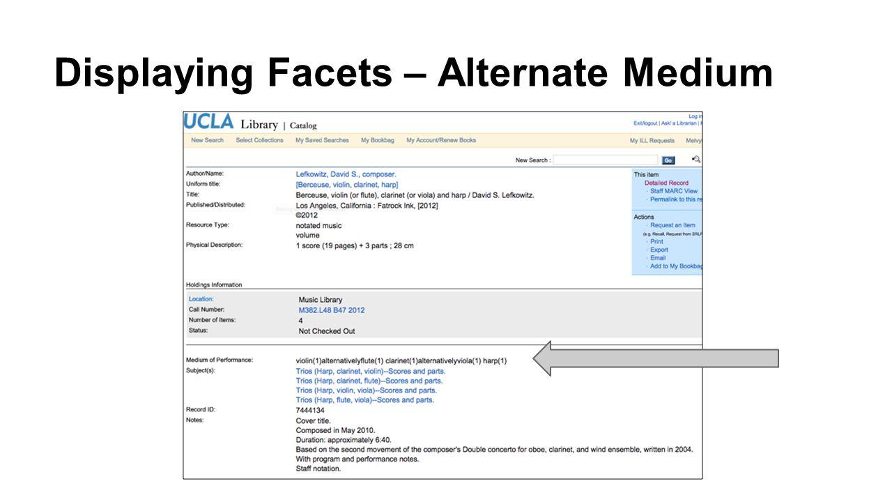Displaying Facets – Alternate Medium