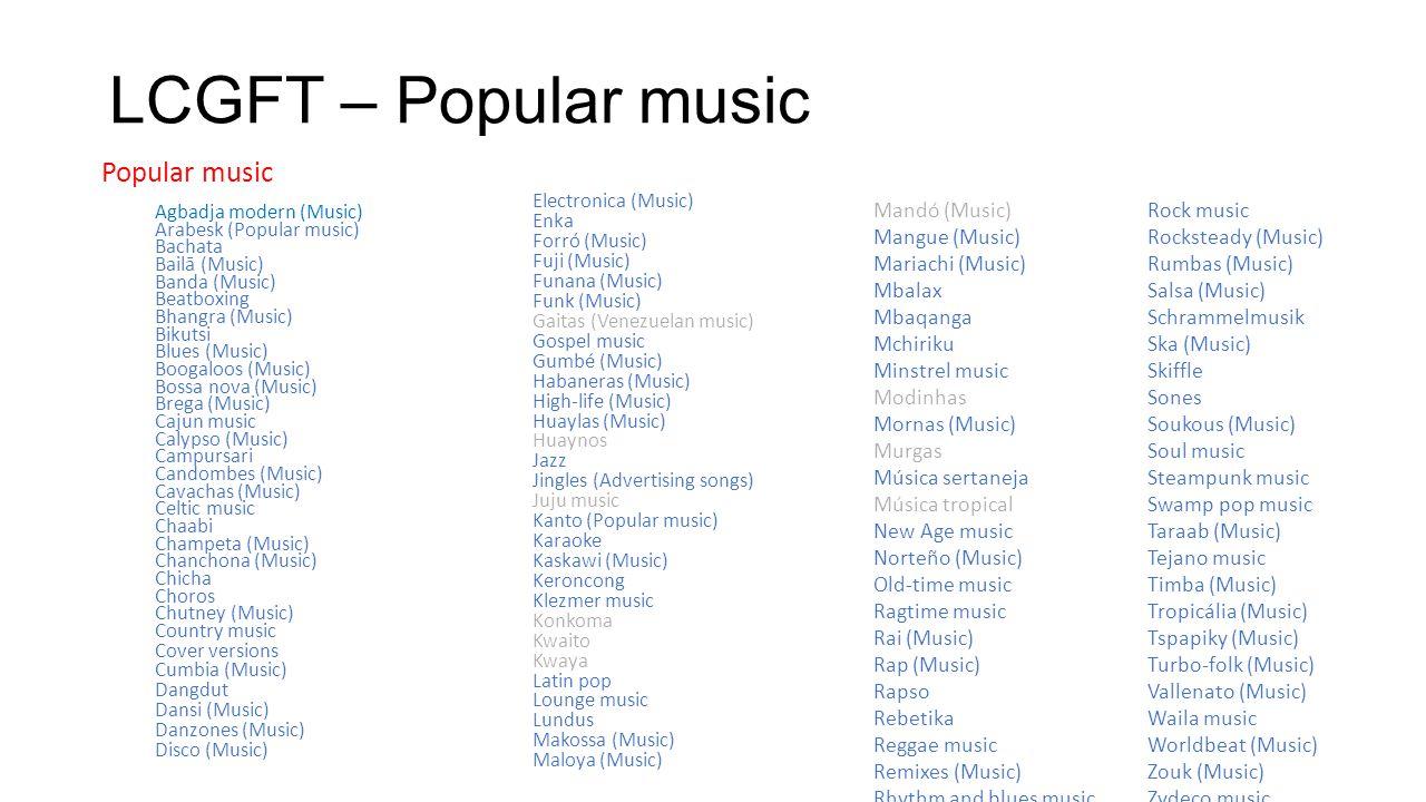 LCGFT – Popular music Popular music Mandó (Music) Mangue (Music)