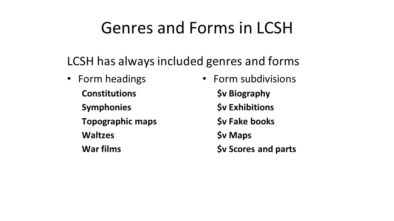 Genres and Forms in LCSH