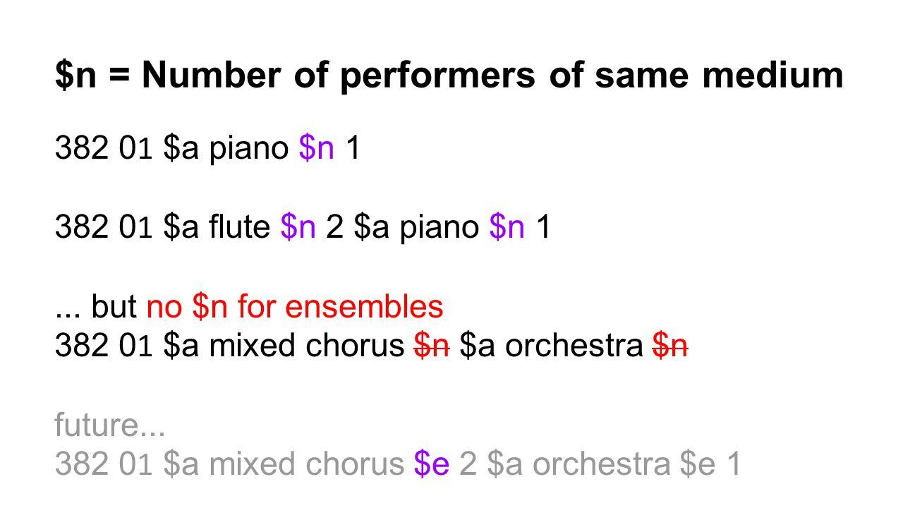 $n = Number of performers of same medium
