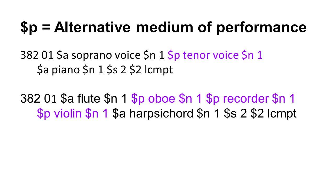 $p = Alternative medium of performance