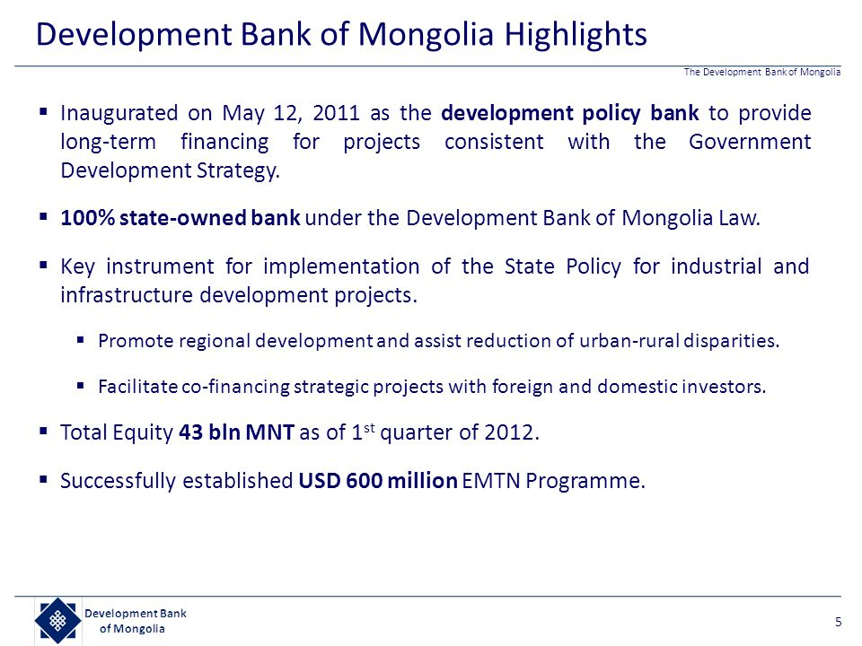 Development Bank of Mongolia Highlights