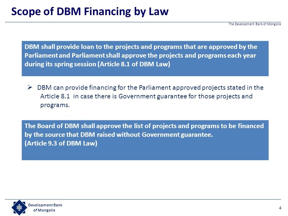 Scope of DBM Financing by Law