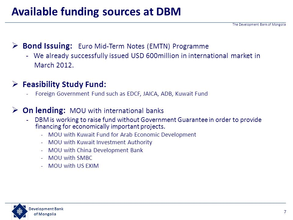 Available funding sources at DBM