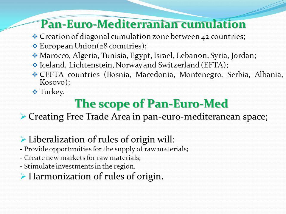 Pan-Euro-Mediterranian cumulation