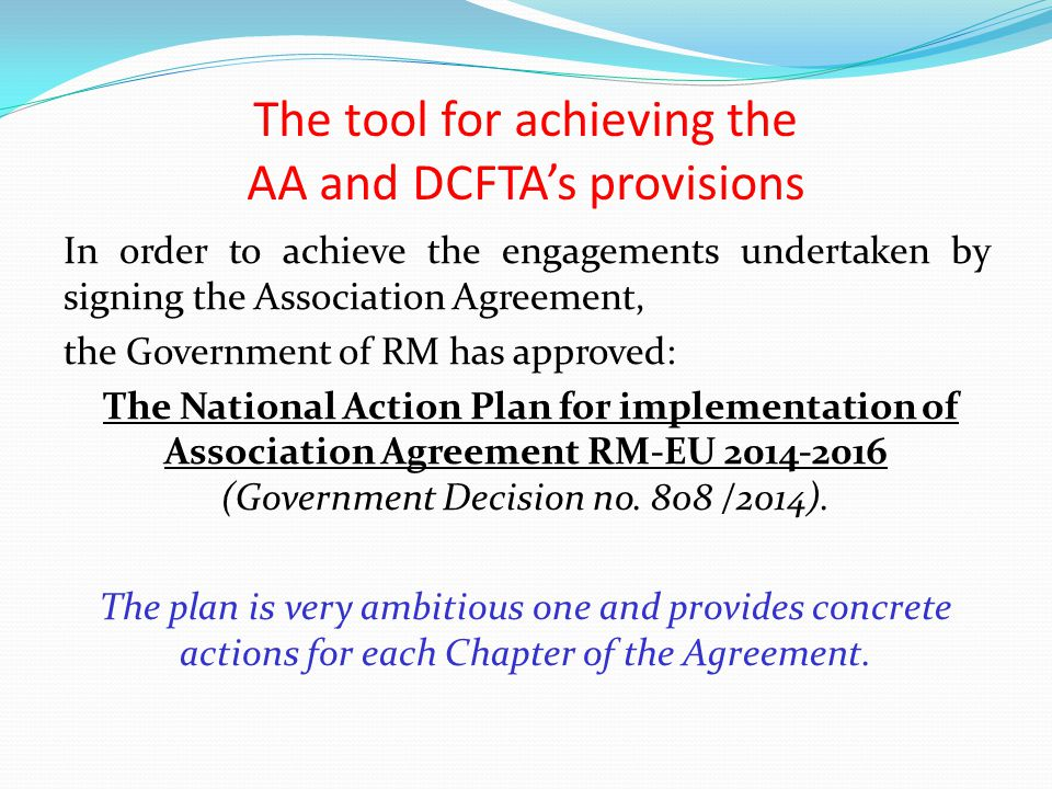 The tool for achieving the AA and DCFTA's provisions
