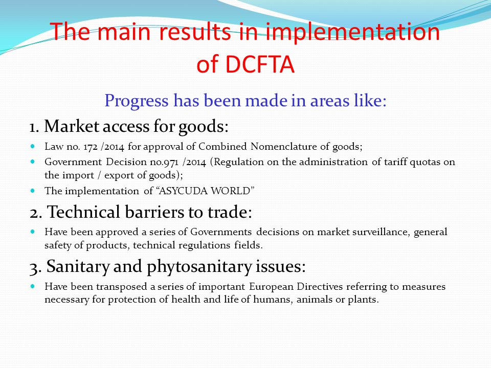 The main results in implementation of DCFTA