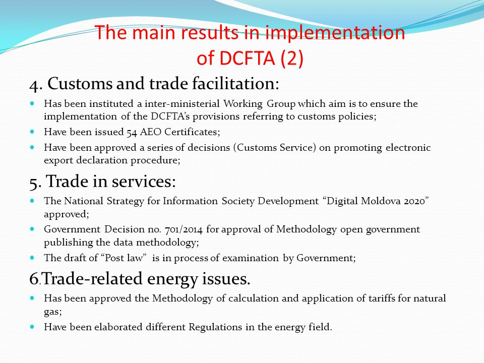 The main results in implementation of DCFTA (2)