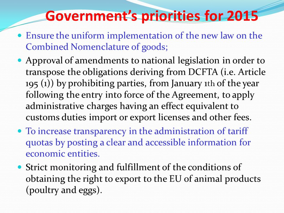 Government's priorities for 2015