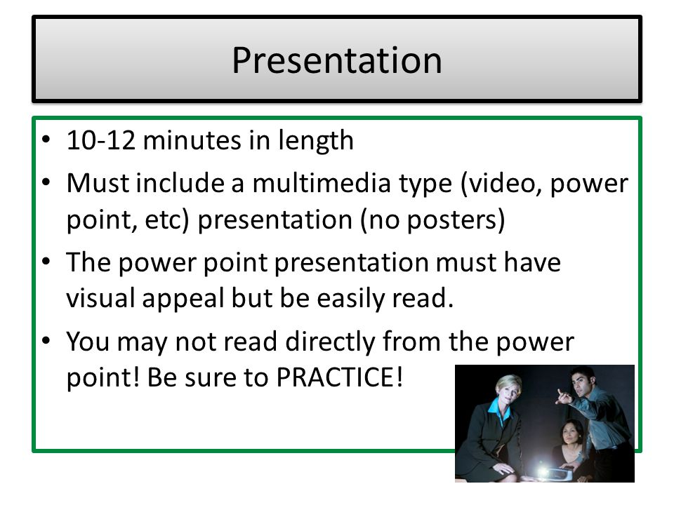 Presentation 10-12 minutes in length