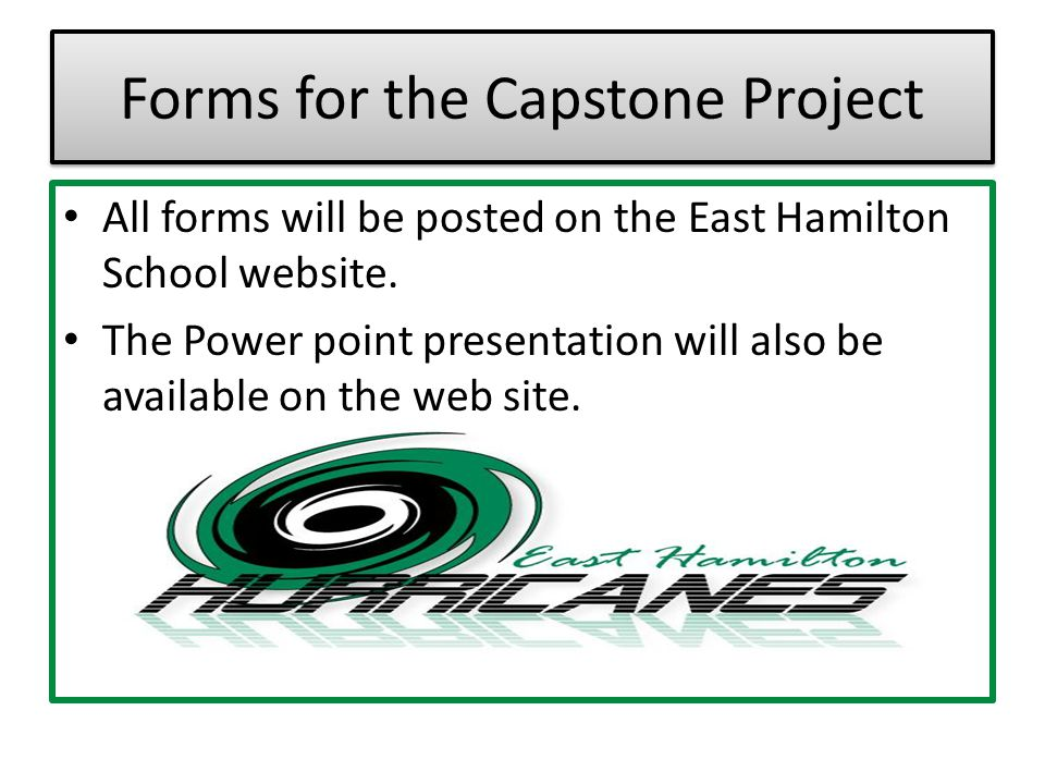 Forms for the Capstone Project