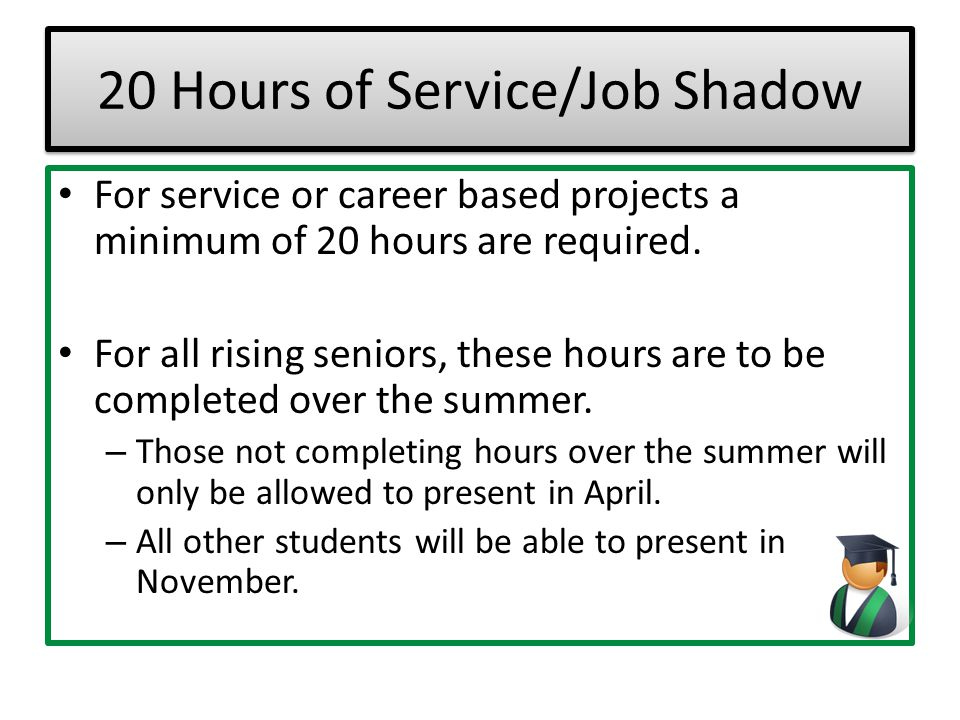 20 Hours of Service/Job Shadow